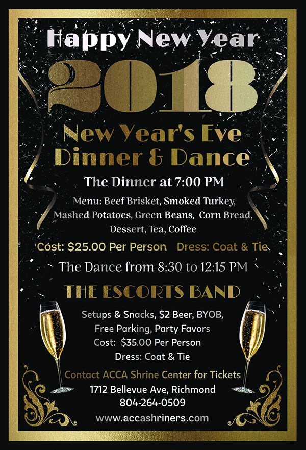 New year s eve dinner dance acca shriners for What to make for new years eve dinner