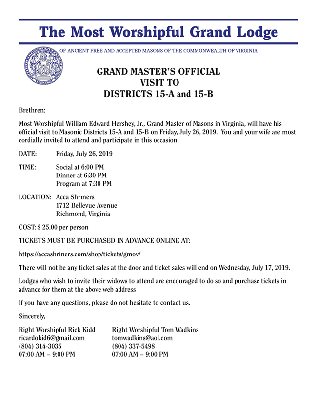 Grand Master's Official Visit
